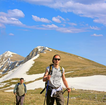 Backpackers on a mountain in Macedonia Stock Photo - 2937811