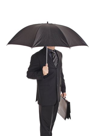Person with an umbrella isolated on white photo