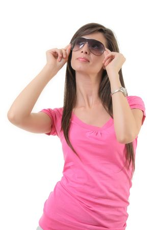 Attractive female with sunglasses isolated on white background photo