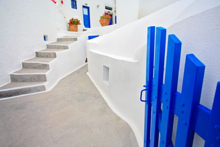 Traditional Greek house on Santorini island photo