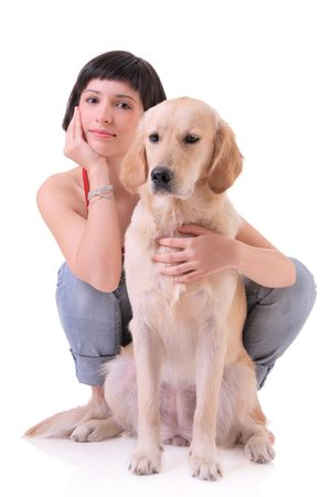 woman isolated: A girl and her dog (Labrador retriever) Stock Photo