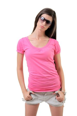 Pretty girl with sunglasses isolated against white background photo