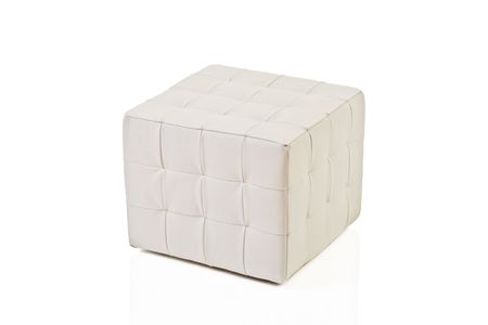 footstool: White footstool isolated against white background