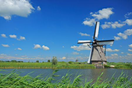 Windmill in Kinderdijk, Holland photo