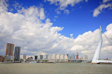 meuse: Erasmus bridge on Meuse river, Rotterdam Stock Photo