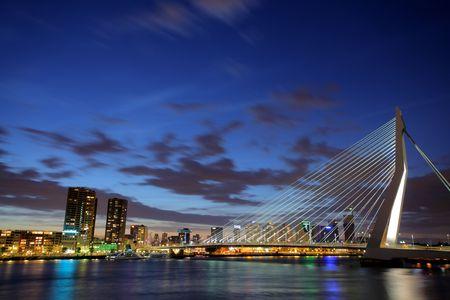 maas: Erasmus bridge on Meuse river, Rotterdam at night Stock Photo