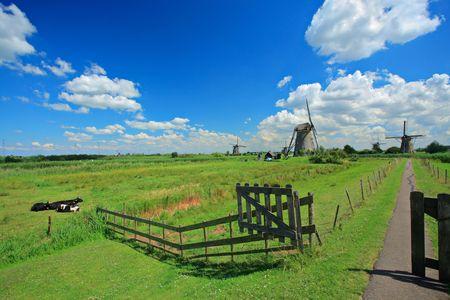 Rural scene from Kinderdijk, Holland photo