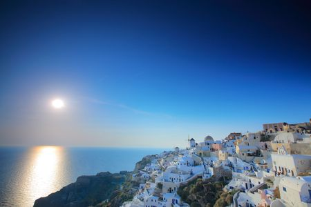 Sunset in Oia village on Santorini island, Greece Stock Photo - 3456839