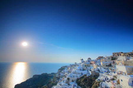 Sunset in Oia village on Santorini island, Greece Stock Photo - 3456839