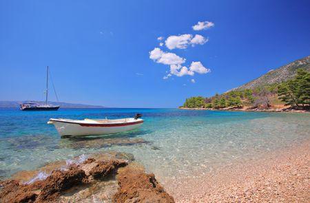 brac: Boats at bay on the island of Brac, Croatia Stock Photo