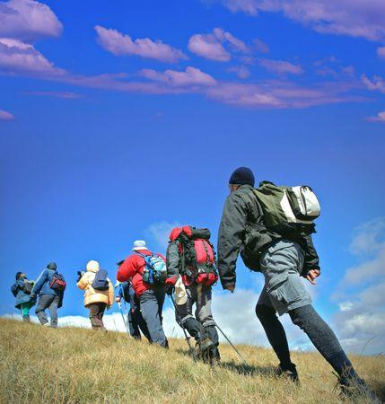 macedonia: Alpine expedition going towards peak Korab, Macedonia