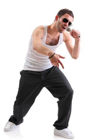 Hip hop artist isolated against white background Stock Photo - 3631656