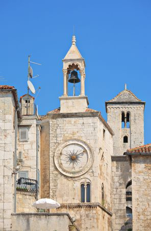 romanesque: Famous Romanesque tower clock in Split, Croatia Stock Photo