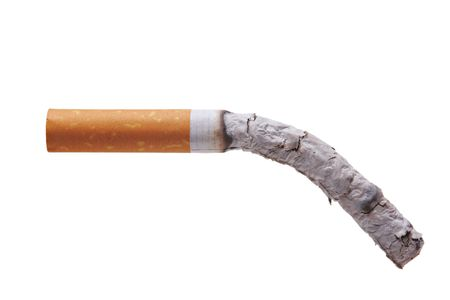 fag: Burning cigarette isolated against white background Stock Photo