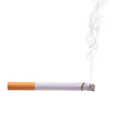 carcinogen: Smoking cigarette isolated against white background
