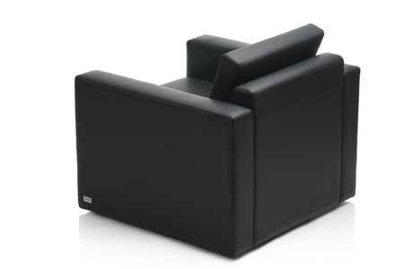 Image of a modern black leather armchair isolated on white background photo