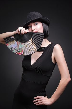 Lady with a fan Stock Photo - 4080127