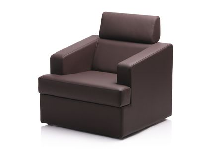 comfy: Image of a modern black leather armchair