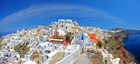 Panoramic view of Oia village on Santorini island, Greece Stock Photo