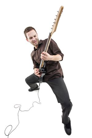 hardrock: Person playing a guitar isolated against white background
