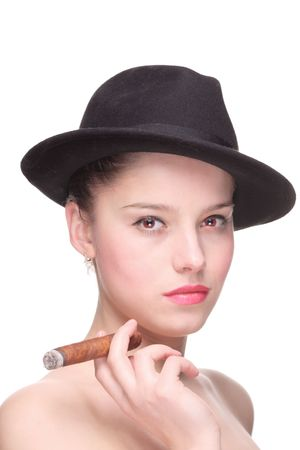 Young woman with a cigar isolated against white background photo