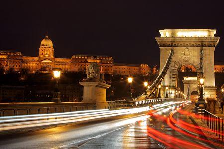 Traffic at Chain bridge, Budapest at night photo