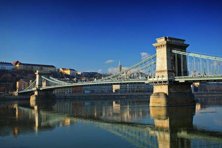 szechenyi: Chain bridge ( Szechenyi Lanchid ) on Danube river, Budapest, Hungary at daytime