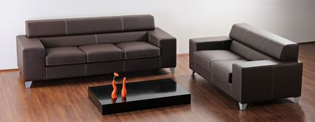 A modern minimalist living room with black furniture Stock Photo - 4518910