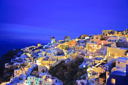 Oia village on Santorini island at nighttime Stock Photo - 4518918