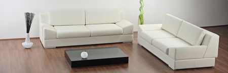 A modern minimalist living-room with white furniture Stock Photo - 4560601