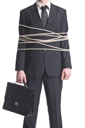 tiedup: A tied-up businessman isolated on a white background