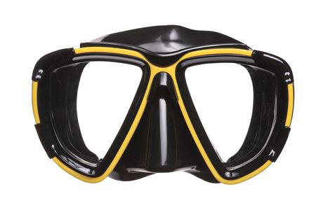 scuba goggles: A diving mask isolated on a white background Stock Photo