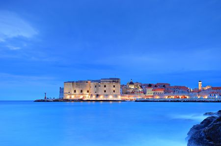 dubrovnik: A view of an old city of Dubrovnik by night Stock Photo
