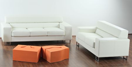 A modern minimalist living-room with white furniture Stock Photo - 5010956