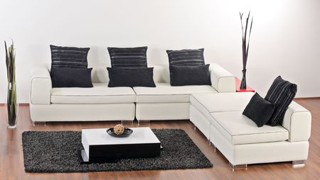 A modern minimalist living-room with white furniture Stock Photo - 5010958