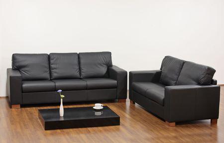 A modern minimalist living room with black furniture  photo