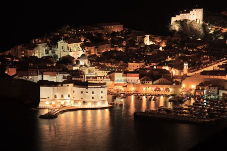 dubrovnik: A panorama of an old city of Dubrovnik by night, Croatia