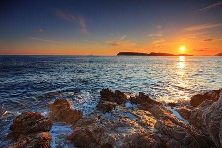 Sunset from Dubrovnik, Croatia photo