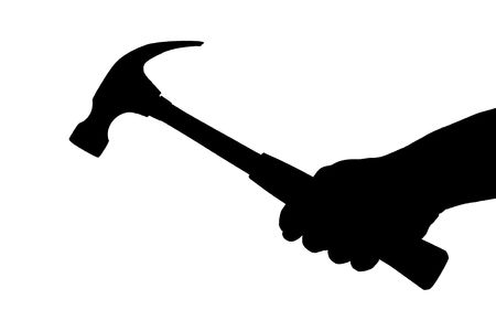 A silhouette of a hand holding a hammer isolated on white background Stock Photo - 5212703