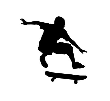 skateboarding tricks: A silhouette of a skateboarder jumping isolated on a white background