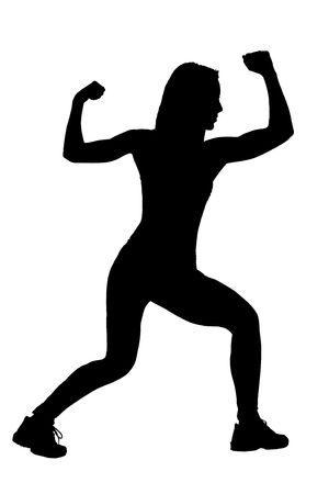 A silhouette of a female athlete isolated on a white background photo