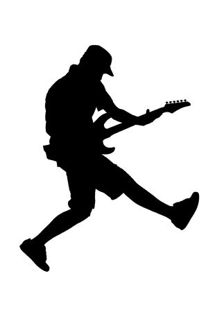 musician silhouette: A silhouette of a  guitar player jumping in midair
