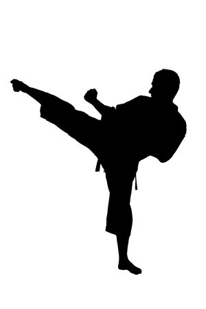 karate boy: A silhouette of a  karate man exercising against white background