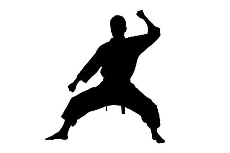 stance: A silhouette of a karate man isolated against white background