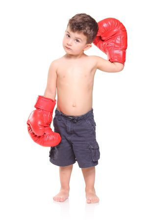 Kid with red boxing gloves isolated on white background Stock Photo - 5356780