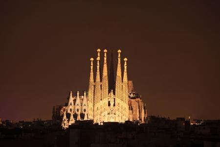 Sagrada familia cathedral in Barcelona, Spain at night