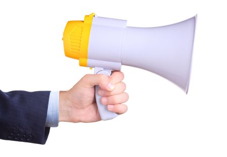 convey: Businessman holding a megaphone isolated on white background