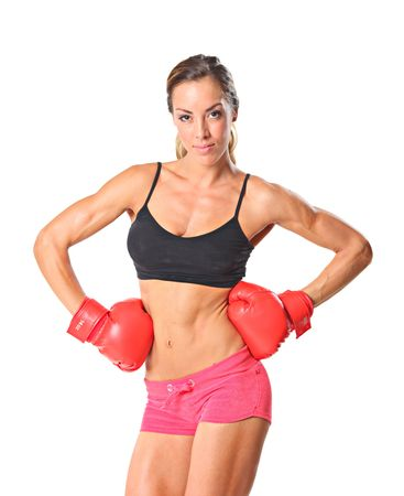 female boxer: Young athlete woman ready to fight