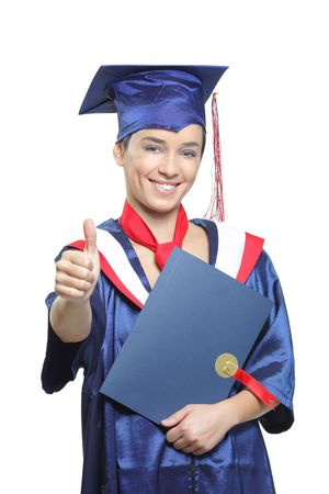 attired: Confident graduating student wearing cap and gown isolated on white background