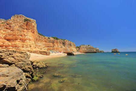 A beach praia da marinha in Algarve, Portugal photo